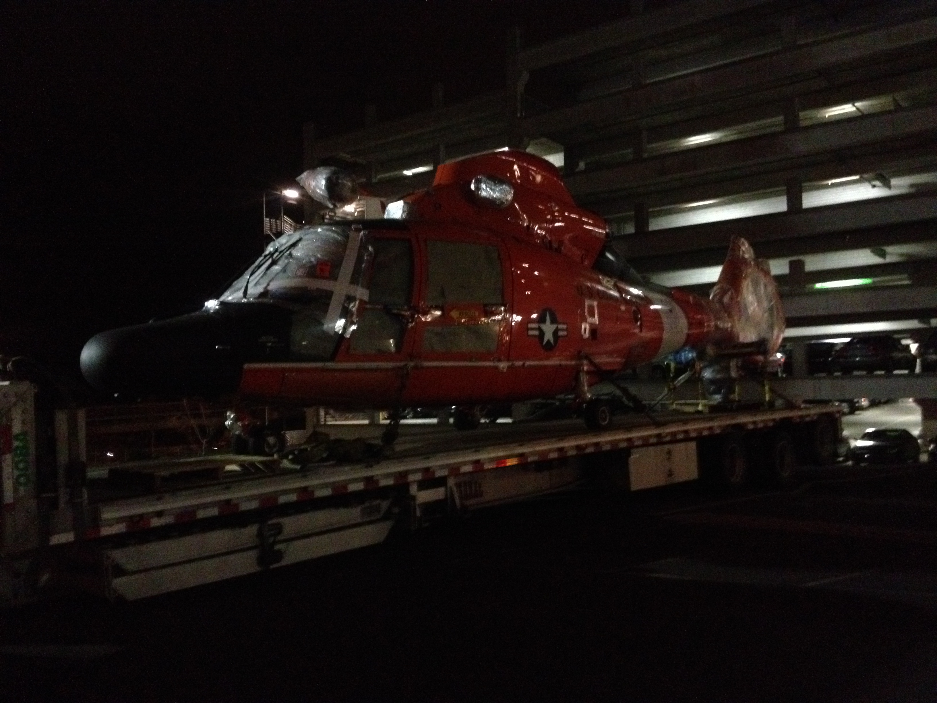 Towing Helicopter and forklift for Coast Guard
